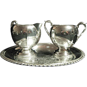 Vintage Sheffield EPC Silverplate Open Sugar & Creamer Set with Tray