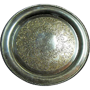 "Vintage Large 15"" Round WM Rogers 4072 Silver Plate Serving Tray"