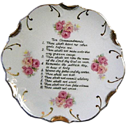 Vintage Mid Century Porcelain Ten Commandments Plate with 18k Gold Trim