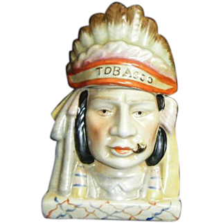 Vintage Native American-Indian Head Humidor Tobacco Jar