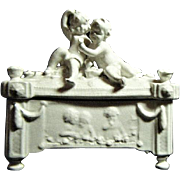 Vintage Parian Porcelain Cherub Trinket Box