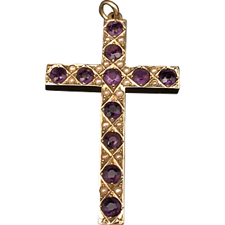 Antique C. 1900 14k Yellow Gold Amethyst & Seed Pearl Cross Pendant