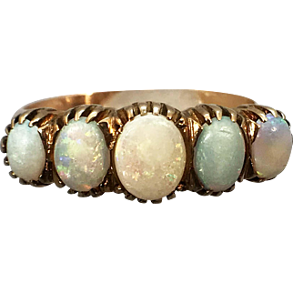 Vintage 14k Yellow Gold 5 Stone Opal Ring