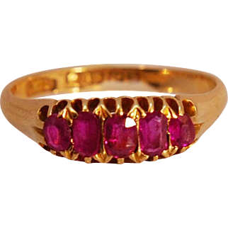 Antique Edwardian C. 1907 5 Stone Ruby Ring in 18k Yellow Gold