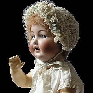 Antique lace baby bonnet with silk ribbon trim