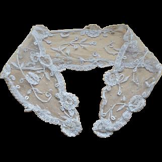 19th century fine antique French lace lappet, ecru cotton lace