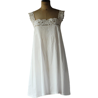 Vintage cotton night gown with cutwork bodice, monogram CL