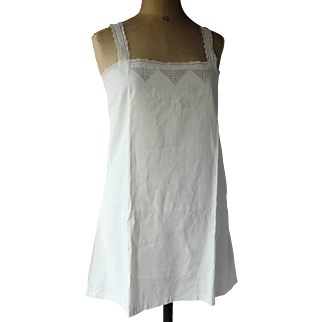 """Linen 1920s chemise with cutwork embroidery and monogram MV, 36"""" bust"""