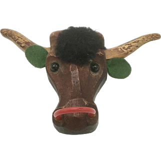 Carved Wood Texas Longhorn Pin with Red Celluloid Nose-Ring