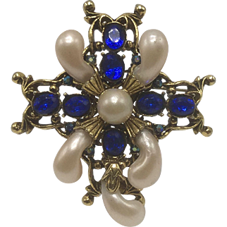 Faux Baroque-Pearl Filagree Brooch