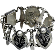 Vintage Taxco Mexican sterling silver hearts bracelet by MARTINEZ, Niello 43.6g