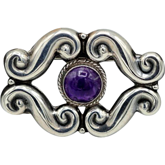 Vintage Taxco Mexican sterling silver Amethyst brooch signed AE in a heart
