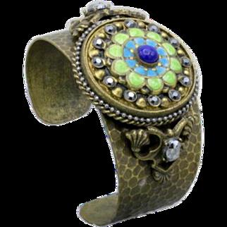 Vintage brass stone enamel cuff statement bracelet by Ollipop Handmade USA 54g