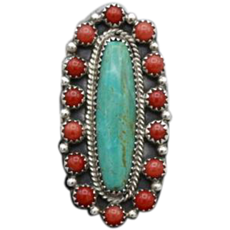 Vintage Native American Navajo silver Turquoise Coral ring signed Running Bear 12g