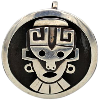 Vintage Taxco Mexican sterling silver 3 D brooch + pendant 'face' Niello by Choe
