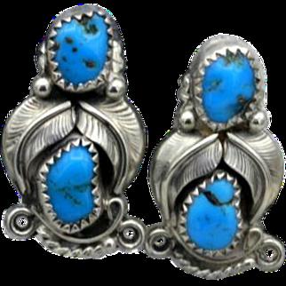 Vintage Native American Navajo earrings Sherry Sandoval sterling silver deep blue turquoise