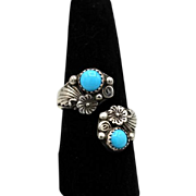 Vintage NA Navajo sterling silver bypass ring turquoise flowers RB Robert Becenti