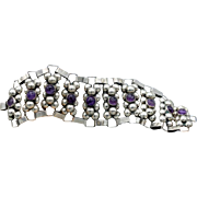 Vintage Taxco Mexican Sterling Silver Wide Bracelet 10 Amethyst rounds, C 1940, 42g