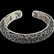 Stunning vintage sterling silver hinged cuff fine detailed vine-leaf openwork, signed, 40g