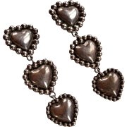 Unique Huge Vintage signed Mexico 925 silver dangle 3 hearts clip-on earrings