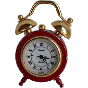 Vintage Miniature red & gold metal clock for dollhouse