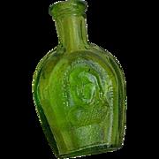 Vintage miniature green glass bottle for dollhouse