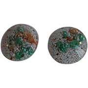 Vintage 50's Lucite Clip-on Earrings with embedded shell & glitter