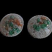 Vintage shell & glitter lucite Clip-on Earrings