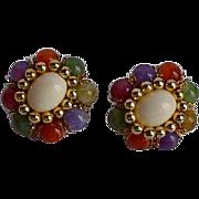 Vintage Fruit Salad Lucite Clip-on Earrings