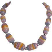 Layered pastel tones plastic graduated necklace