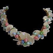 Vintage 50's fruit salad lucite cluster necklace