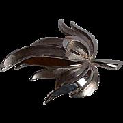 Vintage signed Trifari silver tone metal dimensional Leaf Brooch Pin
