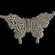 Huge Art Deco pot metal pave rhinestone paste butterfly brooch pin