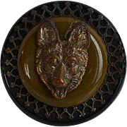 Bakelite and Galalith Button with Fox Head