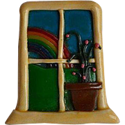 Vintage handmade molded clay figural window with flower and outside rainbow outdoor scene brooch pin