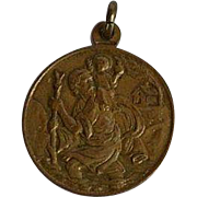 Large Vintage signed Religious Brass Medal with St. Christopher, Vatican and Pope Paul VI