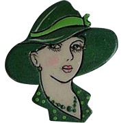Vintage hand carved & painted elegant Lady portrait with green hat plastic celluloid pin brooch