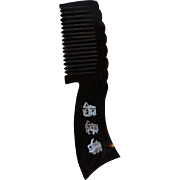 Antique Chinese hand carved Faux Tortoise Shell Comb with flowers & Chinese characters mother of pearl inlays