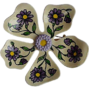 Large Vintage signed W. Germany hand painted flowers cream and violet enamel flower brooch pin
