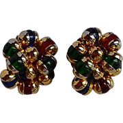 Big Vintage high end gold metal and multi - color glass cluster clip on earrings