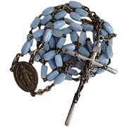 Long vintage 5 decades Catholic Rosary with light blue glass elongated beads and the Miraculous Medal as the center piece