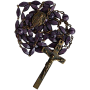 Long Antique 5 decades brass & violet satin molded glass Sacred Heart Catholic Rosary with unique center piece and faceted elongated diamond shape & ball glass beads