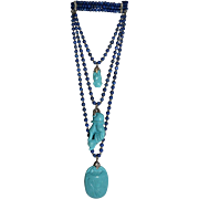 Incredible Vintage Carlo Zini Egyptian Revival Blue & Turquoise Resin & silver tone metal 3 rows Necklace with rhinestones accent