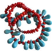 Vintage Red Coral and Tear Drop Enhanced Hand Faceted Turquoise Beaded Necklace with toggle clasp