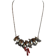 One of a kind Vintage handcrafted silver tone metal Modernist Brutalist adjustable Necklace with 4 Dangle Undyed Red Coral Beads