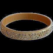 Antique Art Deco Encrusted Pave Clear Rhinestones Cream Celluloid Domed Bangle Bracelet - large size