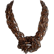 Sumptuous Vintage Smoky Quartz Pinkish Topaz Glass 8 rows Statement Necklace with flattened elongated beads and huge clasp