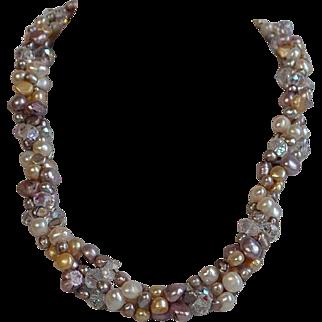 Vintage Aurora Borealis Crystal & White, Cream, Mauve, Pink Genuine Cultured Freshwater Pearl Torsade Necklace