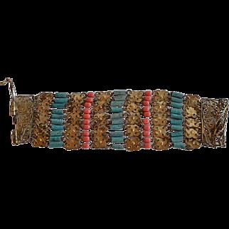 Art Deco Egyptian Revival Coral Glass & Turquoise Ceramic & Gold Tone Metal elements linked Bracelet