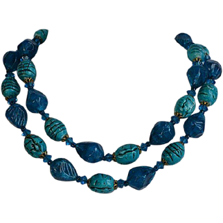 Vintage Blue Turquoise Lucite Beaded Necklace with brass flower filigree caps and Turquoise Crystal spacers